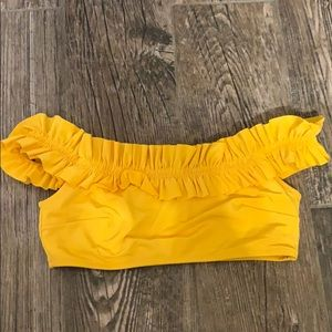 h&m yellow off the shoulder bikini top